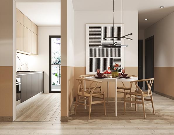 Vách ngăn được sử dụng giúp phân chia phòng bếp mà không mang lại cảm giác ngột ngạt.