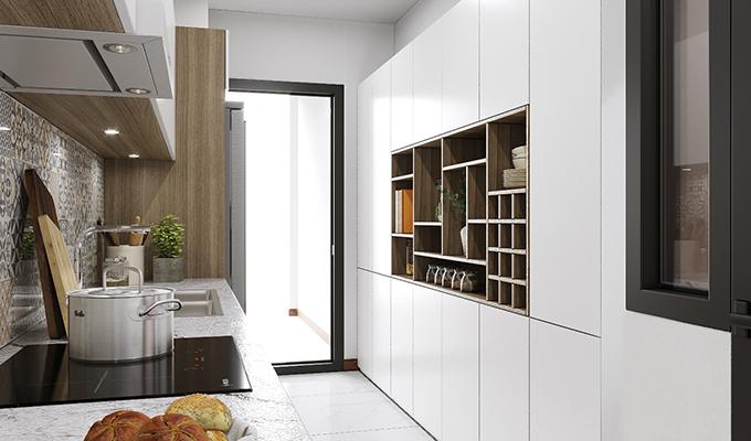 Bếp tuy dài và nhỏ hẹp nhưng bạn hoàn toàn có thể mở rộng và tăng tính thẩm mỹ bằng cách chọn tủ bếp màu trắng, có những ô trang trí xen kẽ ở giữa
