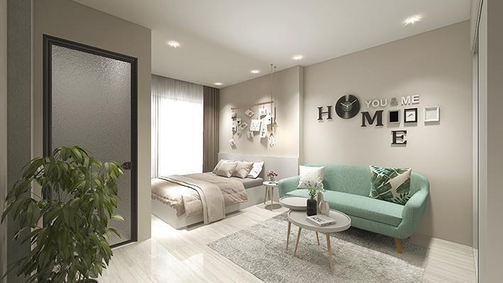 Phòng ngủ vợ chồng chỉ có 8 m2 nên sử dụng tông màu nhạt