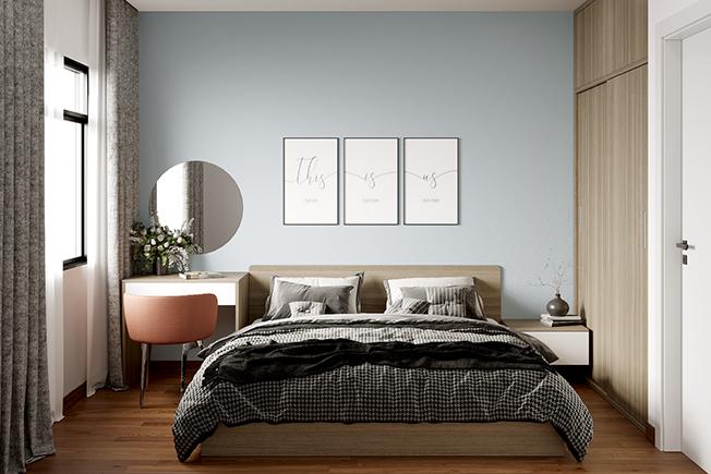 Một vài bức tranh chữ treo đầu giường, lọ hoa nhỏ bên bàn trang điểm, tab đầu giường, rèm cửa… sẽ là vật trang trí hữu ích