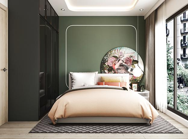 Một bức tranh chim muông màu sắc cùng cách phối màu ga gối đa sắc, phòng ngủ vợ chồng bạn sẽ càng thêm ấn tượng hơn