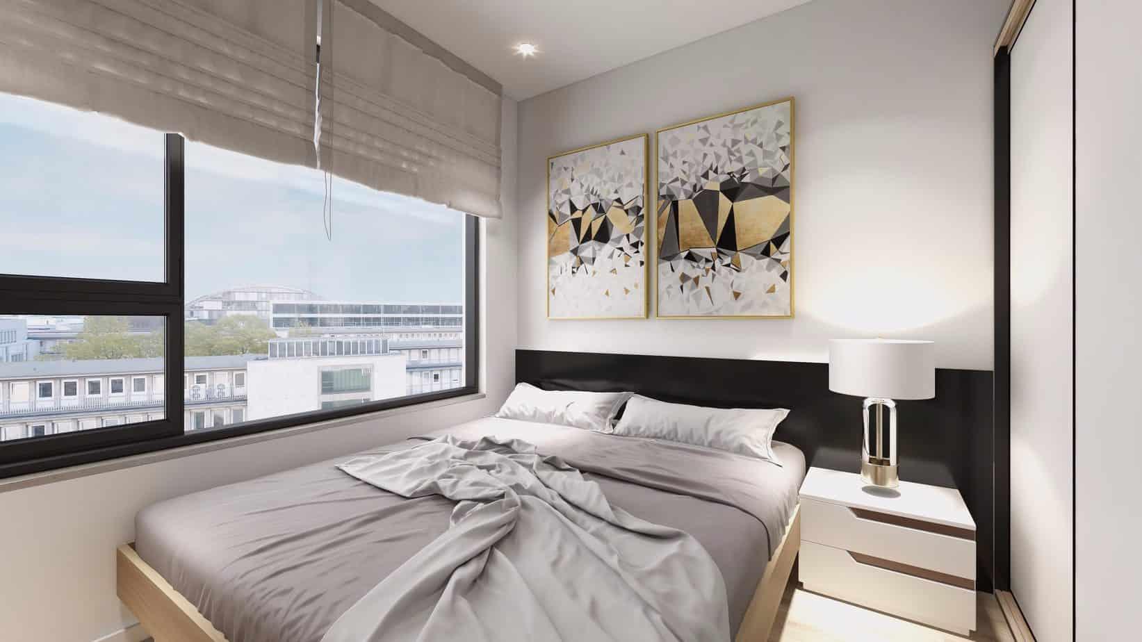 Bức tranh hình học đa giác giàu nghệ thuật sẽ tạo thêm hiệu ứng thẩm mỹ cho phòng ngủ vợ chồng