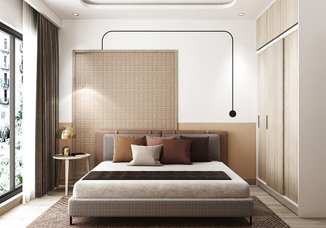 Đường chỉ decor trên tường kết hợp với mảng tường kẻ chỉ nhỏ làm nên vẻ đẹp tinh tế