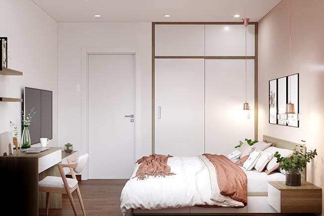 Điểm trang thêm hai chiếc đèn thả màu hồng ghi lãng mạn, vài chậu cây nhỏ xinh nơi tab đầu giường sẽ giúp căn phòng trở nên tươi mát hơn