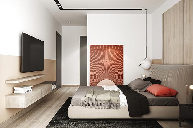 Mảng tường ốp gỗ kết hợp với cách sơn nâu nhạt đến lưng tường làm cho phòng ngủ vợ chồng càng thêm ấn tượng