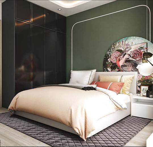 Giữa sắc đen của tủ quần áo, sắc xanh rêu của tường, lựa chọn tủ MDF phủ Melamine màu trắng giúp tạo điểm nhấn cho căn phòng.