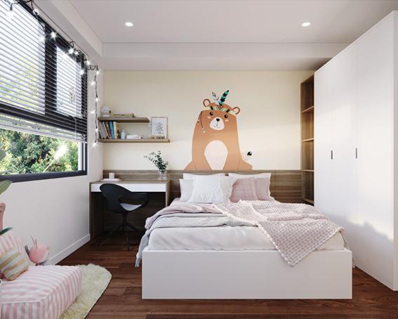 Màu trắng thanh lịch và thời thượng luôn luôn là lựa chọn tối ưu cho giường MDF phủ Melamine 1m8 trong căn phòng ngủ nhỏ. Vì gam màu trắng giúp tạo cảm giác không gian được cơi nới, mở rộng hơn.