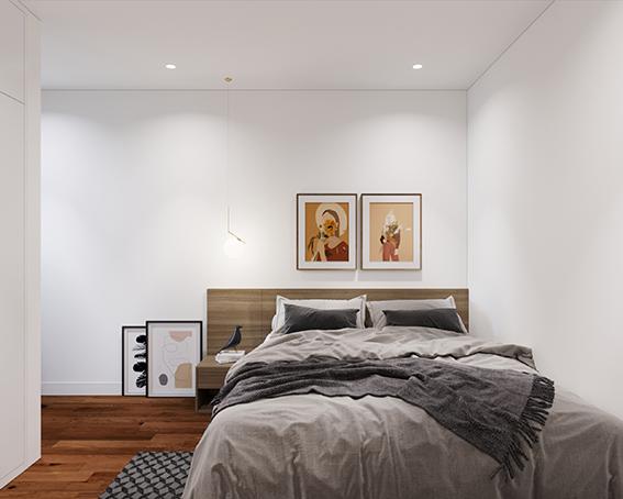 Sử dụng sàn, giường màu gỗ, tranh treo tường nghệ thuật sẽ giúp cho phòng ngủ vợ chồng có điểm nhấn hơn