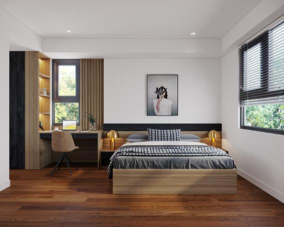 Thêm hai chiếc đèn ngủ mạ vàng nơi tab đầu giường tạo điểm nhấn hút mắt cho cả phòng ngủ