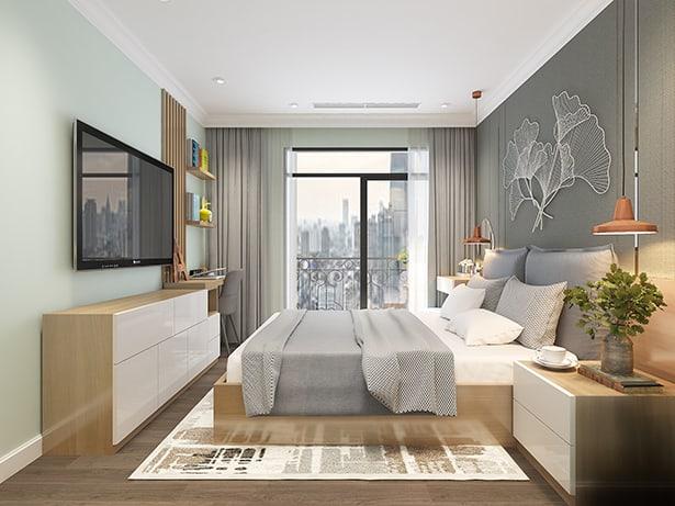 Mẫu thiết kế phòng ngủ có kệ ti vi và tab đầu giường bằng gỗ công nghiệp đầy tiện nghi
