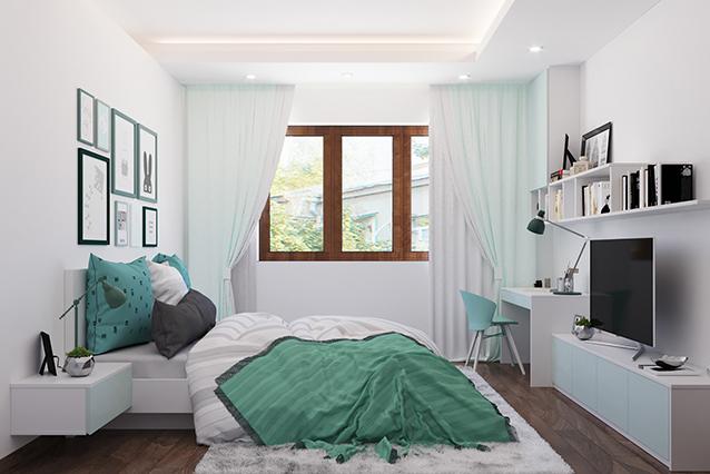 Gam màu xanh bạc hà được sử dụng xuyên suốt trong nhiều vật dụng mang lại vẻ đẹp tươi mát, thanh nhã cho phòng ngủ