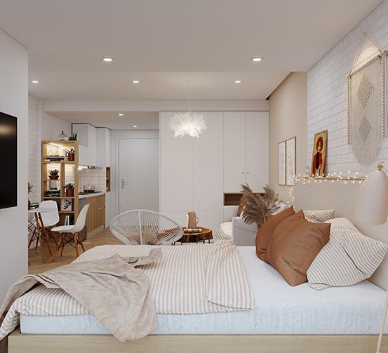 Bạn hoàn toàn có thể biến phòng ngủ 10m2 thành không gian lãng mạn, ấm cúng của lứa đôi