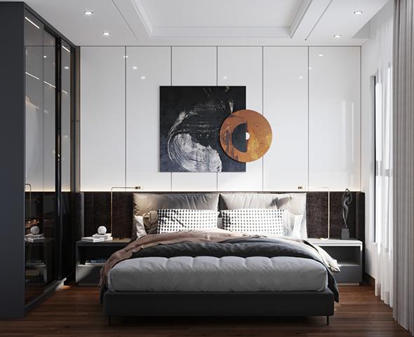 Tủ cánh kính tông màu đen sẽ là lựa chọn tuyệt vời, giúp tăng thêm sự sang trọng cho phòng ngủ