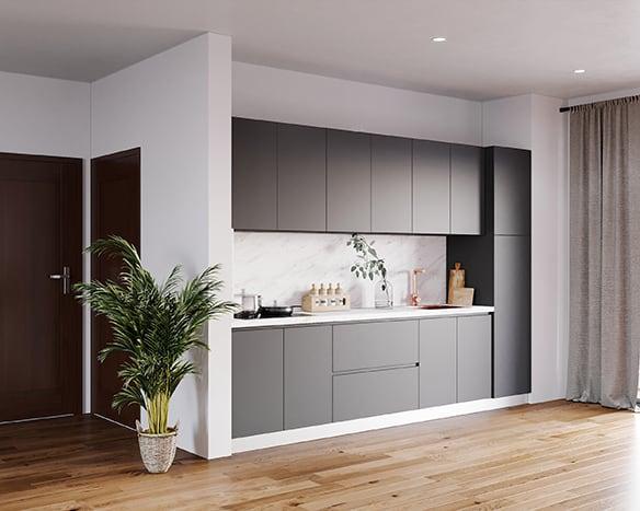 Căn bếp 4m2 lắp đặt tủ bếp chữ I lõi MDF phủ Laminate giữ màu tốt. Tông màu xám đồng bộ cả tủ bếp trên và dưới phối hợp hài hòa với các gam màu nội thất xung quanh.