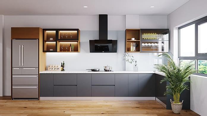 Sang trọng, mới lạ và ấn tượng với tủ bếp màu ghi - nâu gỗ thiết kế các ô cánh kính và không cánh trưng bày đồ đẹp mắt