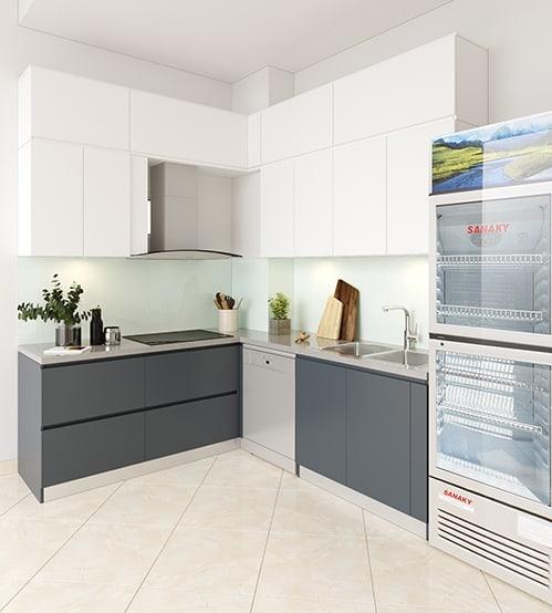 Tủ bếp chữ L lõi MDF chống ẩm phủ Laminate phối màu trắng - xám mang đến vẻ đẹp thanh lịch, hiện đại đến cho góc bếp 6m2