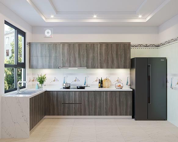 Tủ bếp chữ L mang đến không gian bếp sang trọng, tiện nghi cho mỗi gia đình