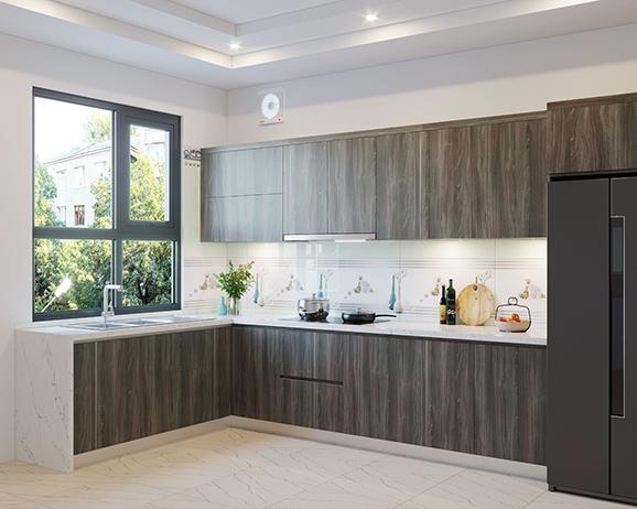 Tủ bếp chữ L giúp tối ưu không gian bếp một cách hoàn hảo
