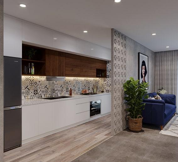 Vẻ đẹp giản dị, tinh tế và mê đắm lòng người của căn bếp 4m2 sử dụng tủ bếp chữ I màu trắng - nâu vân gỗ trầm phối với gạch 3D Mexico hoa văn ốp tường và bức tường ngăn từ gạch bông gió