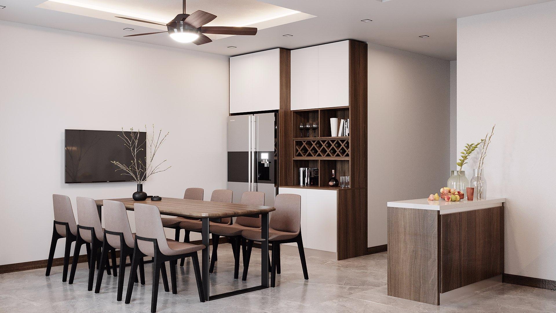 Bạn có thể lựa chọn mẫu bếp kịch trần để tăng thêm khả năng lưu trữ các vật dụng và đảm bảo tính thẩm mỹ cho không gian.