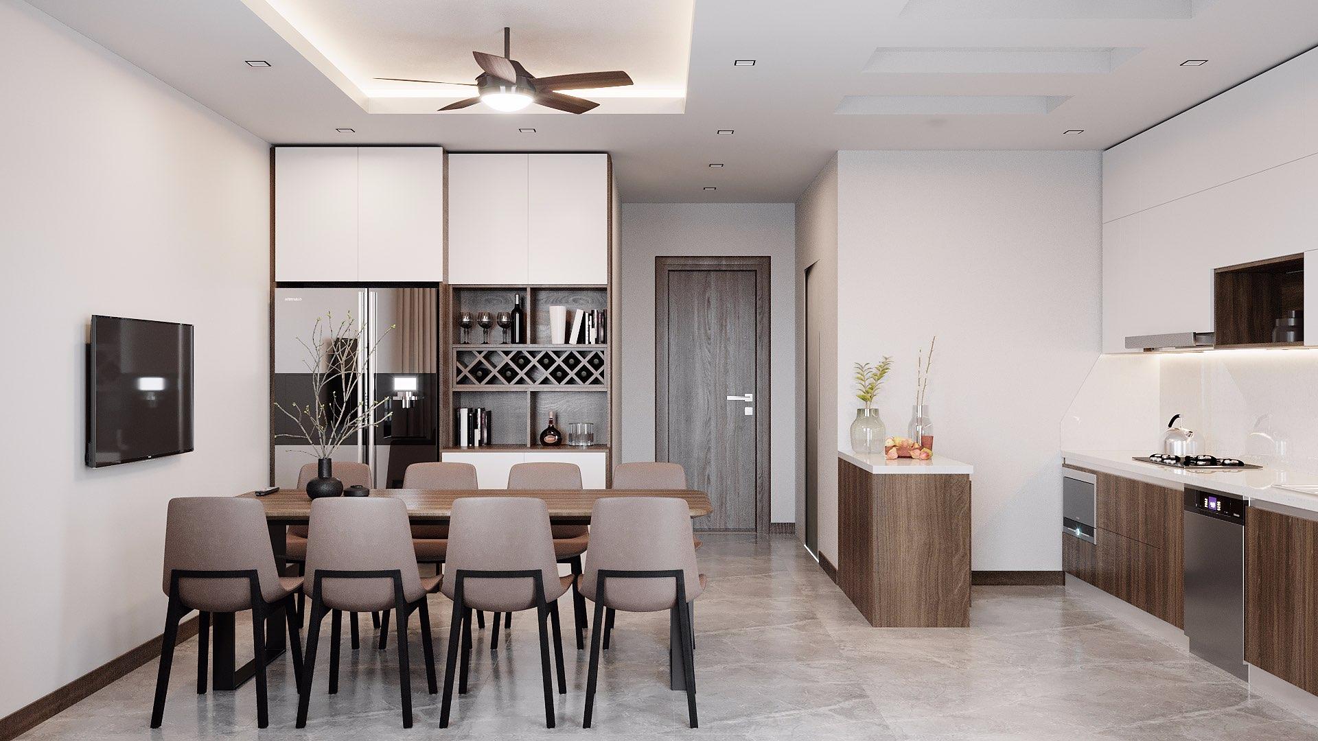 Tủ để đồ, tủ bếp, bàn đảo bếp đều được thiết kế kịch trần và kịch sàn giúp tăng không gian lưu trữ tối đa.