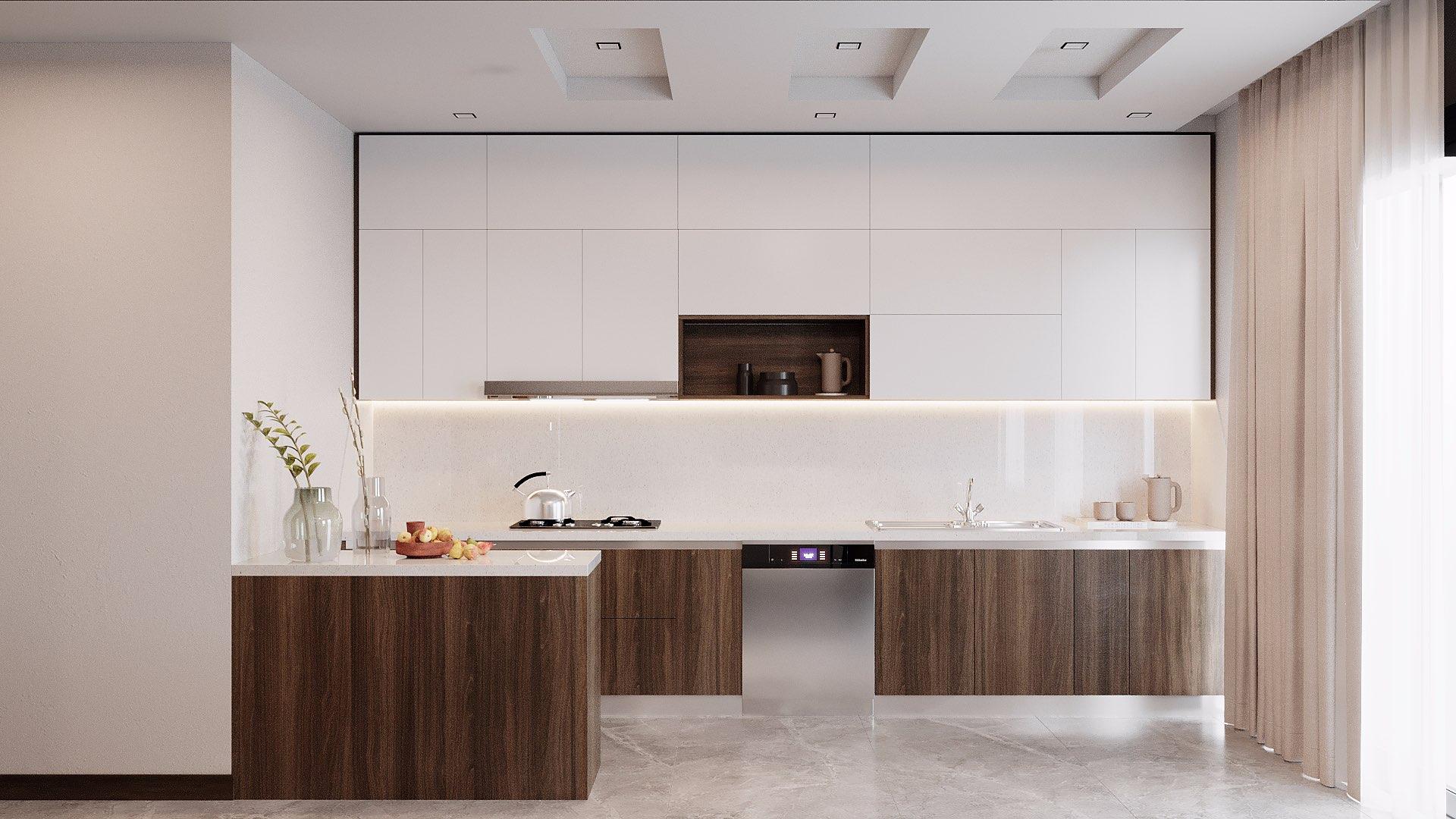 Tủ bếp kịch trần kết hợp với cách bố trí theo từng luồng công việc giúp tăng khả năng lưu trữ và sự tiện lợi cho người sử dụng