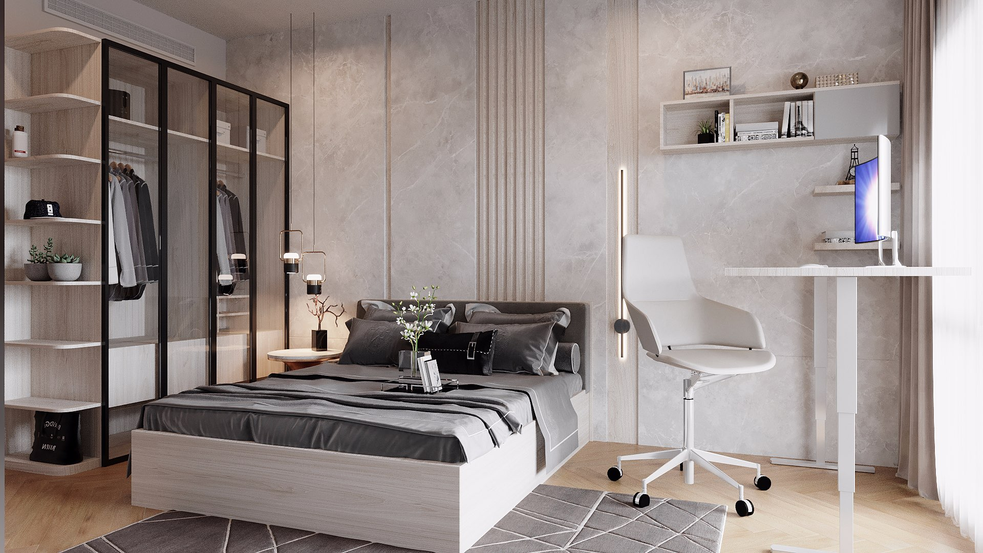 Chiếc giường ngủ MDF phủ Melamine vân gỗ sáng khi kết hợp với tủ quần áo, kệ để đồ, bàn, ghế, tường, sàn tông màu nâu vân gỗ sáng - trắng - xám nhạt sẽ tạo nên một bức tranh màu sắc hoàn hảo, nhã nhặn, nền nã.