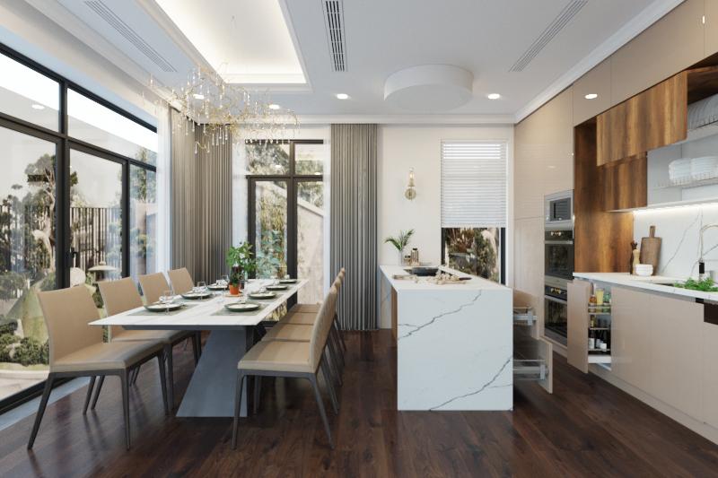 Tủ bếp dưới làm từ lõi MDF chống ẩm phủ Acrylic màu be nhã nhặn, thanh lịch. Các phụ kiện thông minh như giá, ray trượt … mang đến sự linh hoạt, tiện dụng khi sử dụng.
