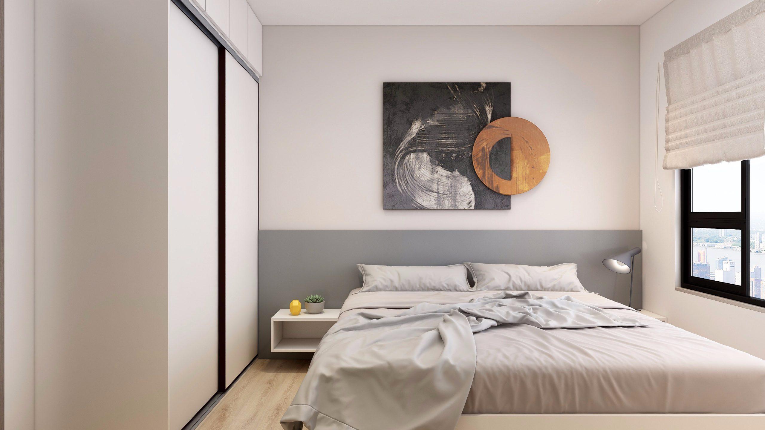 Giường ngủ cùng tông màu trắng chủ đạo của căn phòng được bao phủ khắp các đồ nội thất, mang đến vẻ đẹp vừa hiện đại, vừa thuần khiết.