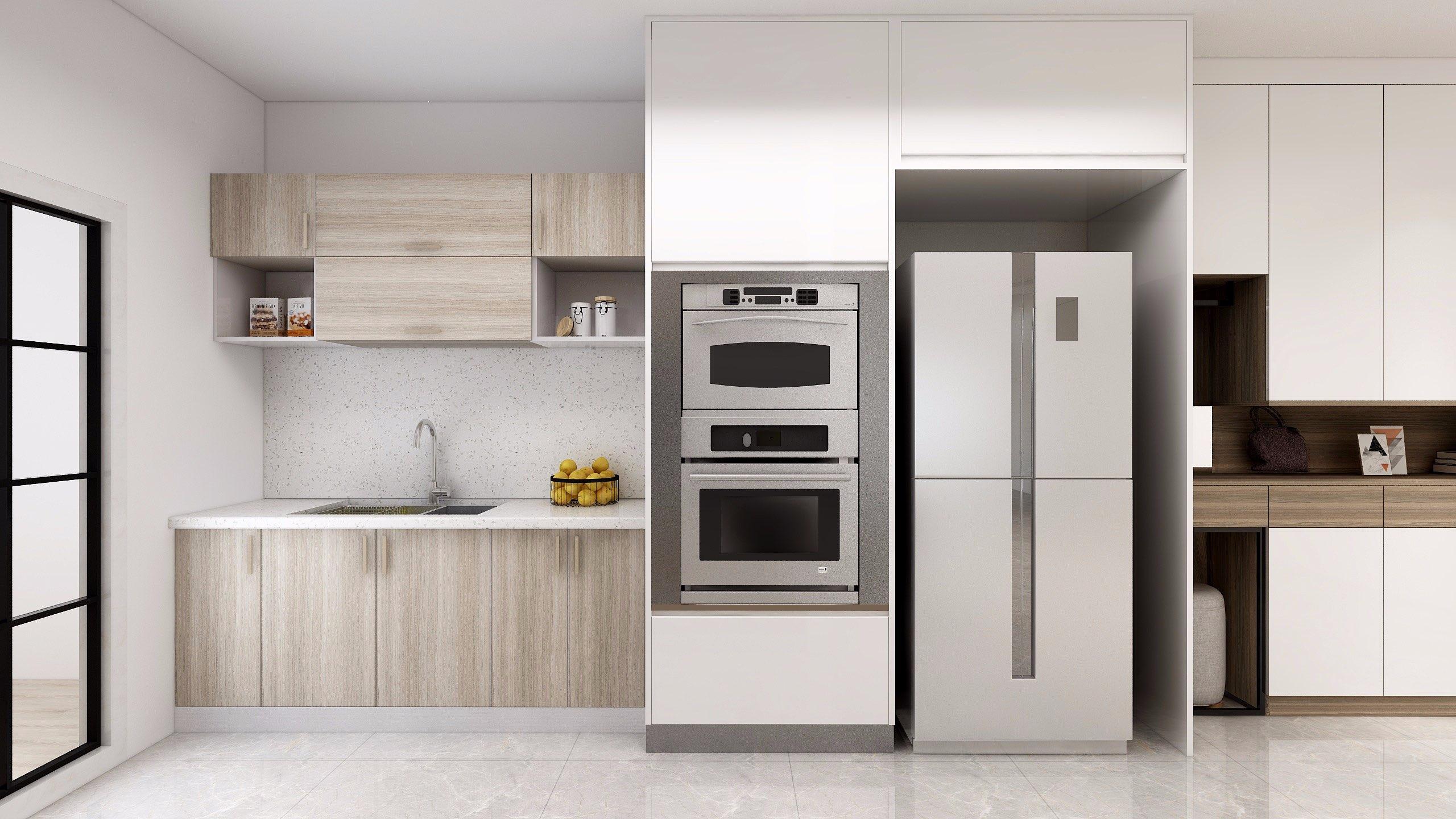 Màu gỗ sáng tự nhiên giúp căn bếp thêm thoáng và bắt mắt hơn.