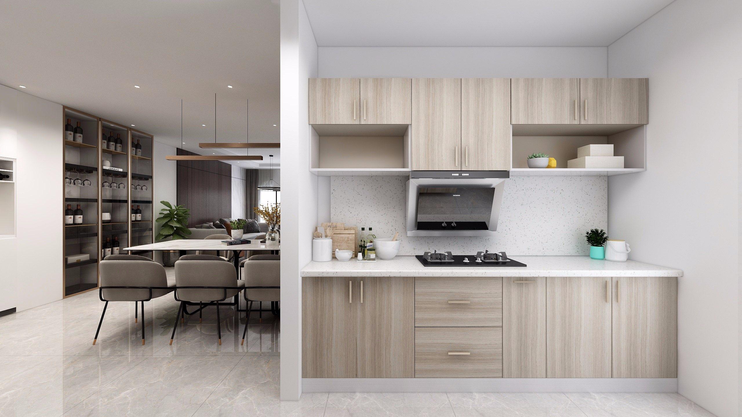 Nếu muốn tạo cảm giác không gian bếp rộng hơn, nên sử dụng tủ bếp chữ I màu sáng, trang trí gọn gàng, đơn giản
