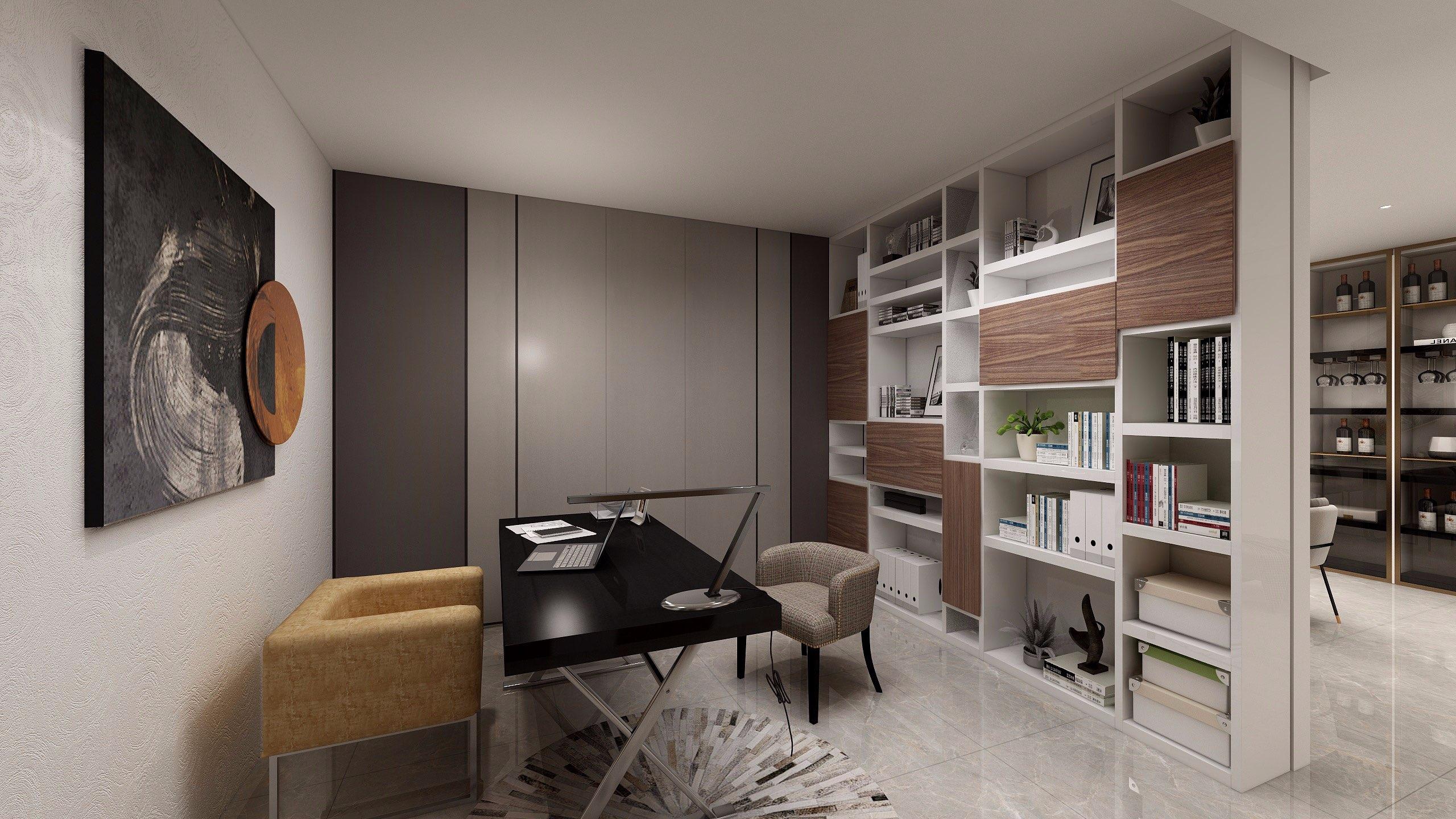 Khu làm việc được tách riêng với đầy đủ bàn ghế, giá sách kết hợp kệ trang trí làm vách ngăn giúp gia chủ thoải mái làm việc