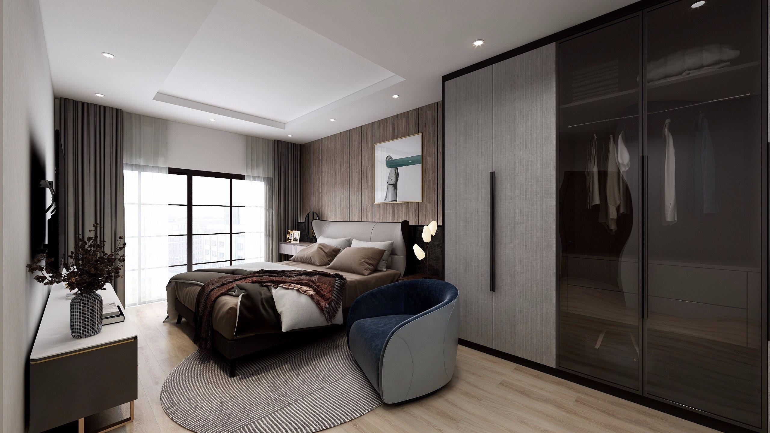Không gian ngủ được trang bị một loạt các đồ nội thất hiện đại giúp cuộc sống sinh hoạt vợ chồng thêm tiện nghi