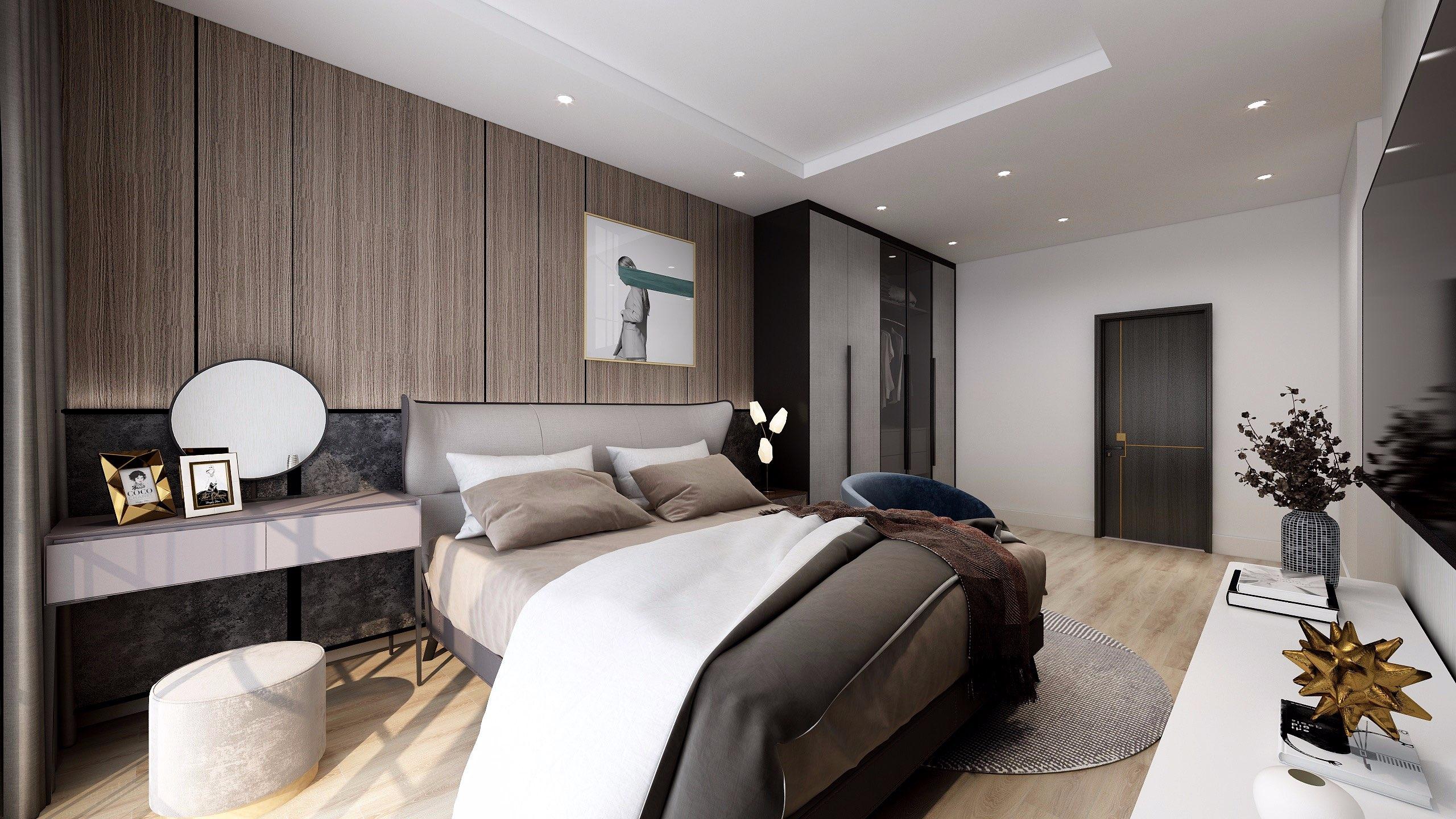 Lựa chọn giường ngủ có màu sắc hài hoà với phong cách thiết kế và đồ nội thất sẽ mang đến một tổng thể đẹp mắt, sang trọng.