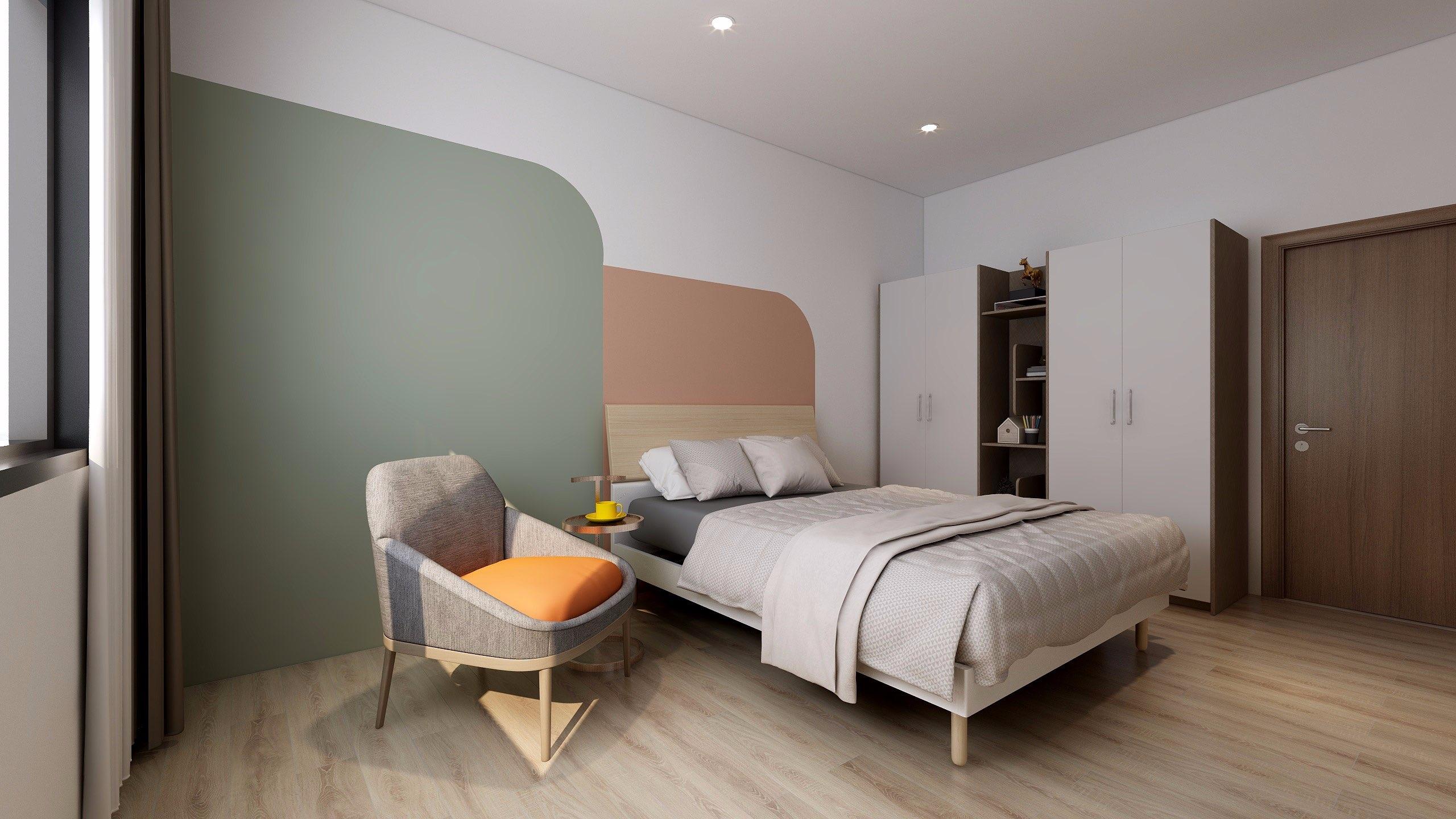 Giường MDF phủ Laminate 1m8 màu nâu gỗ sáng, thiết kế gọn gàng, rất hợp với những căn phòng ngủ có diện tích vừa phải