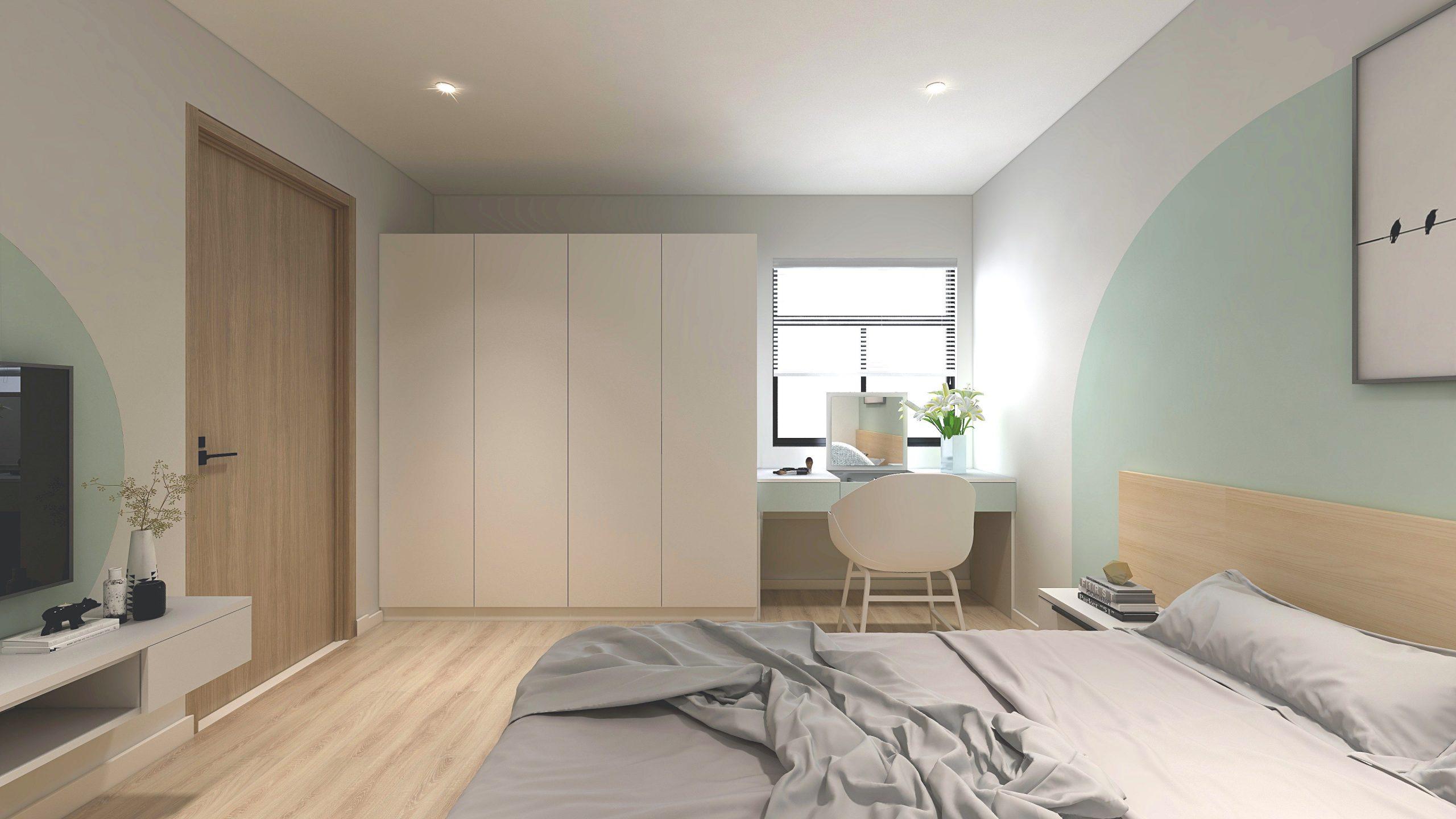 Sử dụng sắc trắng tinh khôi làm tông màu chủ đạo, nhấn nhá chút sắc xanh dịu mát, phòng ngủ vợ chồng trông sẽ dễ chịu hơn