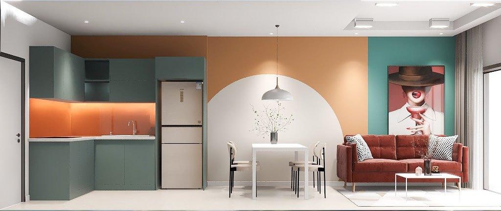 Không gian bếp trở nên cá tính và độc đáo hơn nhờ các gam màu ấn tượng.