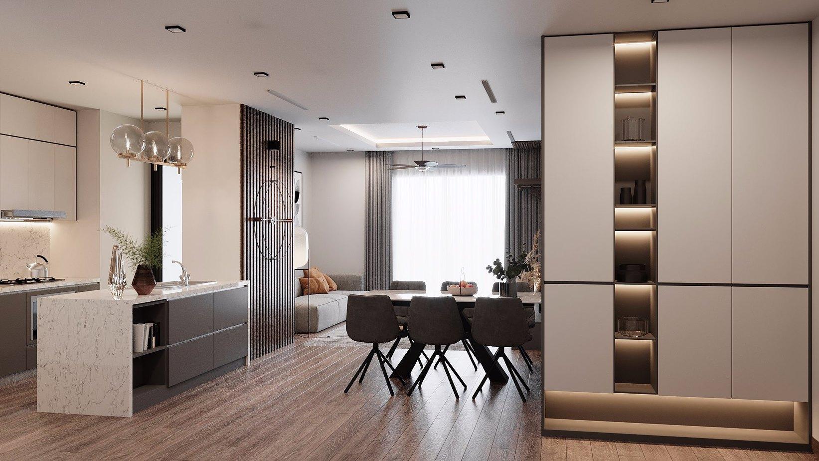 Vách ngăn gỗ hoà hợp với nội thất phòng bếp, mang lại vẻ đẹp đầy ấn tượng.