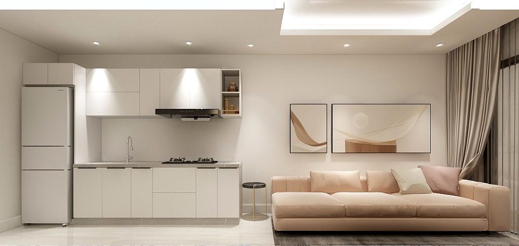 Tuy chỉ có 6m2 nhưng căn bếp của bạn sẽ thông thoáng, rộng mở và có thêm không gian sử dụng với tủ bếp chữ I màu trắng tinh khôi và trong trẻo này