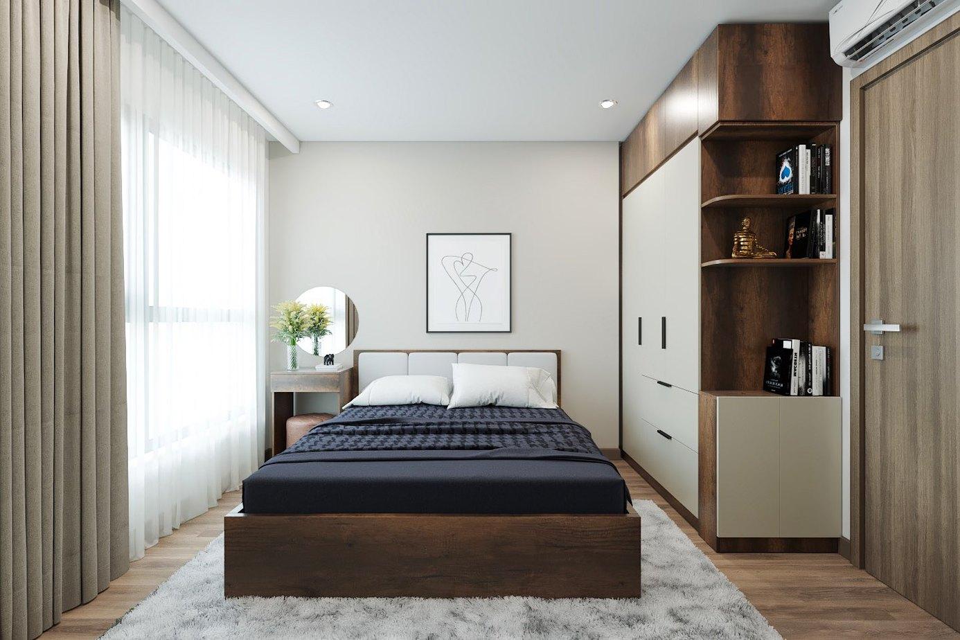 Giường ngủ sở hữu màu cánh gián cùng những vân gỗ tự nhiên bắt mắt.