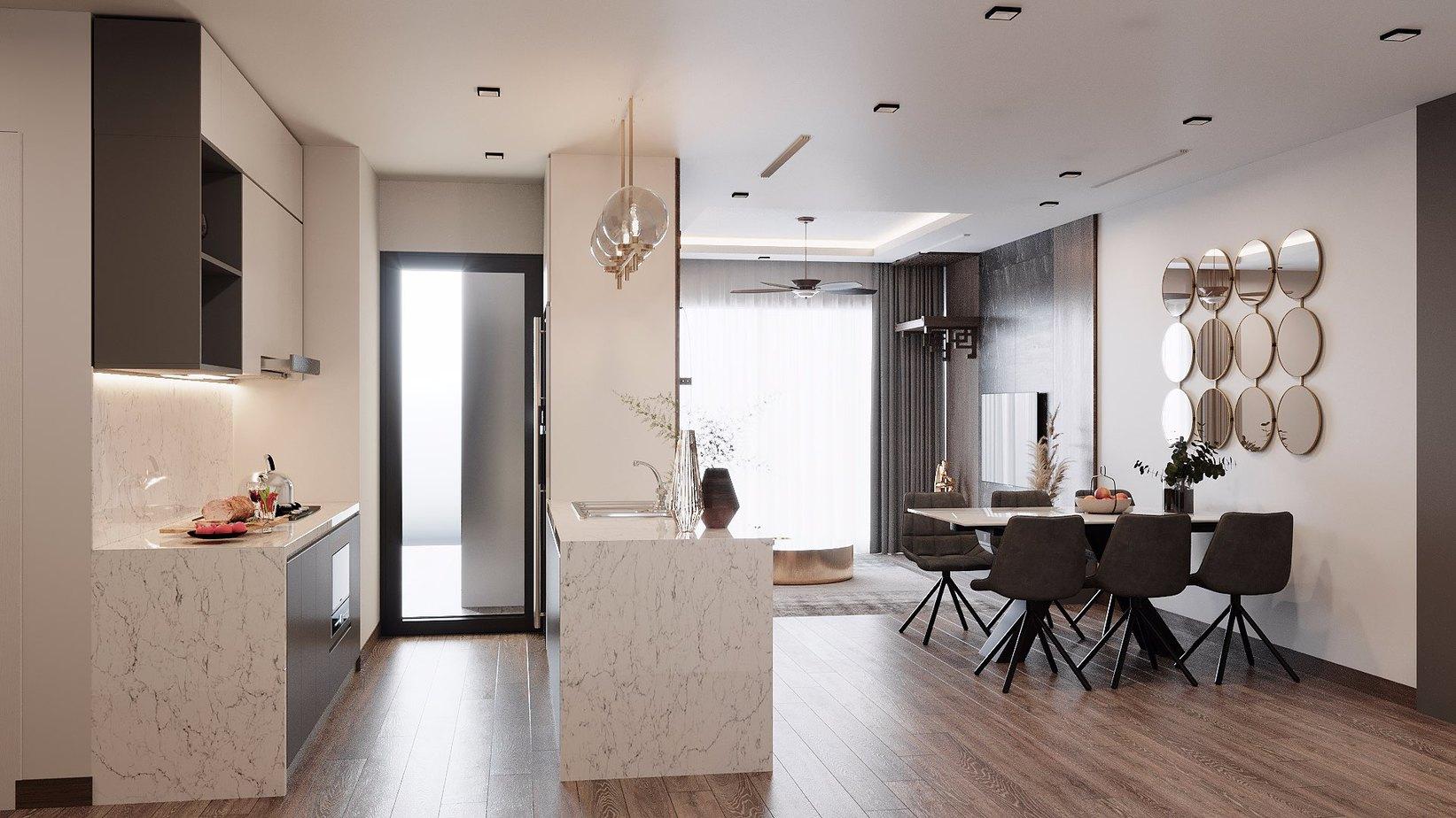 Tủ bếp chất liệu lõi MDF phủ Laminate giá thành hợp lý, bền đẹp dài lâu. Tủ trên màu trắng, tủ dưới và đảo bếp ốp đá vân sáng màu tạo không gian sang trọng. Trong khu vực bếp chỉ 4m2, đảo bếp được thiết kế có bồn rửa để hỗ trợ tủ bếp kích thước nhỏ.