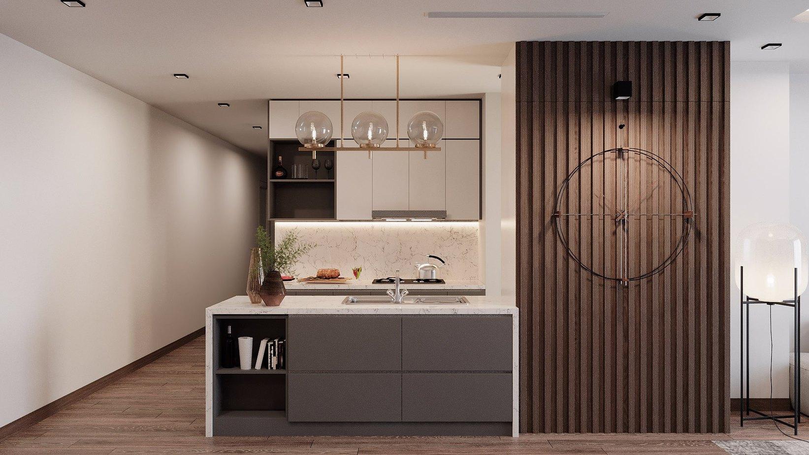 Trắng và ghi - hai tông màu không bao giờ lỗi mốt sẽ là sự lựa chọn màu sắc tuyệt vời cho tủ bếp chữ I có bàn đảo tiện dụng trong căn bếp 4m2 này