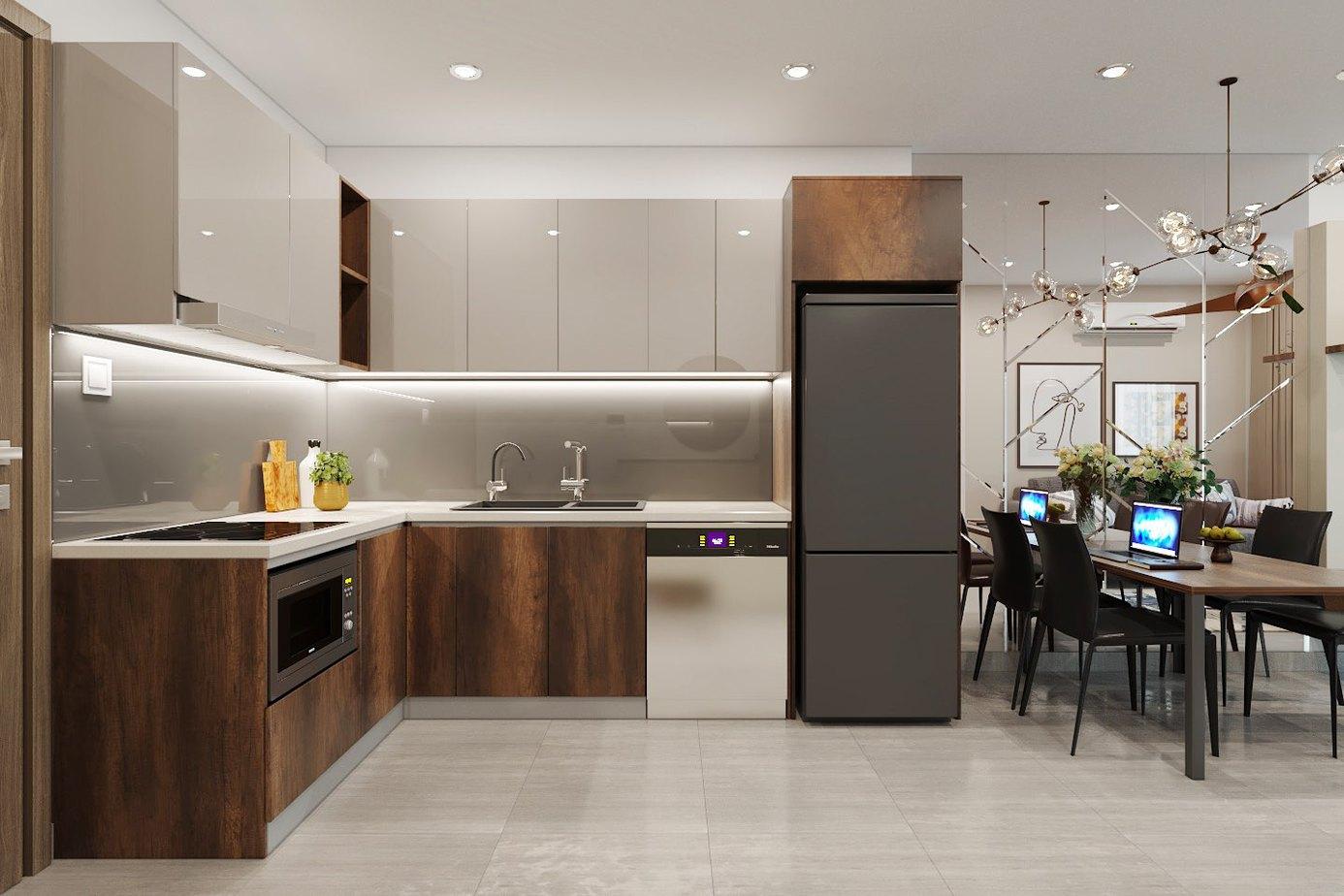 Vệ sinh tủ bếp thường xuyên để tránh tình trạng vết bẩn tích tụ lâu ngày khó làm sạch