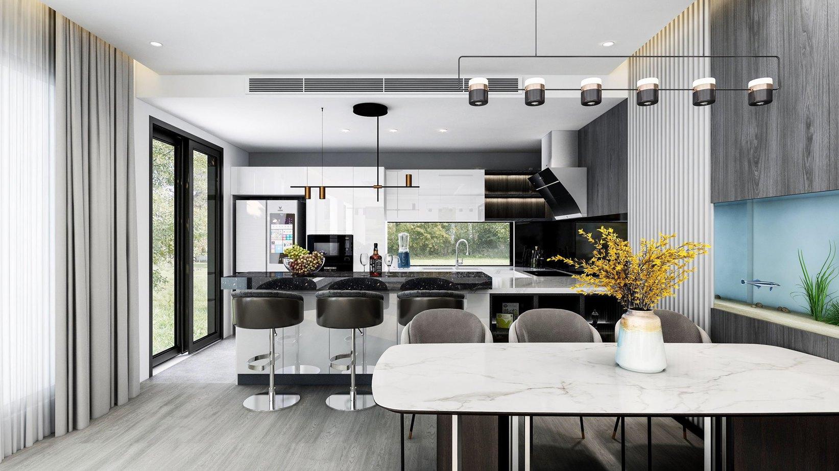 Ngoài hệ thống điện chiếu sáng, việc tận dụng ánh sáng tự nhiên từ các ô cửa lớn giúp căn bếp trở nên thoáng và rộng rãi hơn.