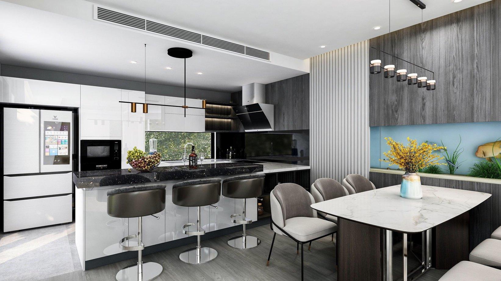 Màu trắng của tủ bếp lõi MDF chống ẩm phủ Acrylic hòa hợp với màu đen, nâu vân gỗ tối của các vật dụng khác mang đến vẻ đẹp tối giản, sang trọng cho căn bếp 8m2