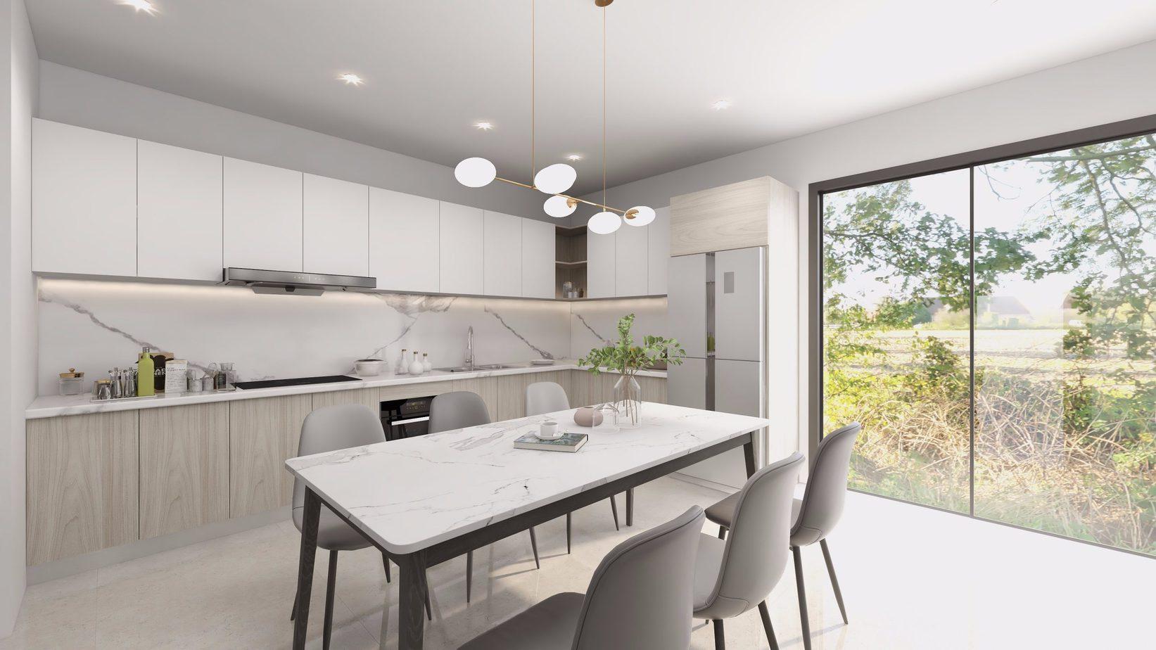 Căn bếp của bạn sẽ trở nên thoáng mát, rộng mở và có sự kết nối với thiên nhiên nếu sử dụng tủ bếp chữ L màu trắng - nâu vân gỗ kết hợp cửa kính rộng và không gian nội thất màu xám sáng như mẫu thiết kế này