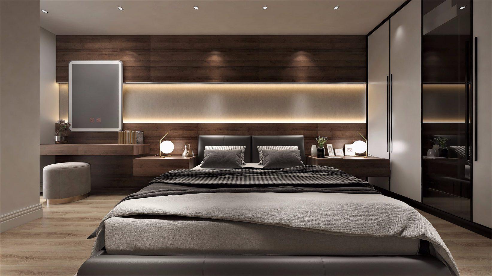 Giường cách tường và tủ quần áo một khoảng cách nhất định giúp vợ chồng dễ tiếp cận từ hai phía khác nhau