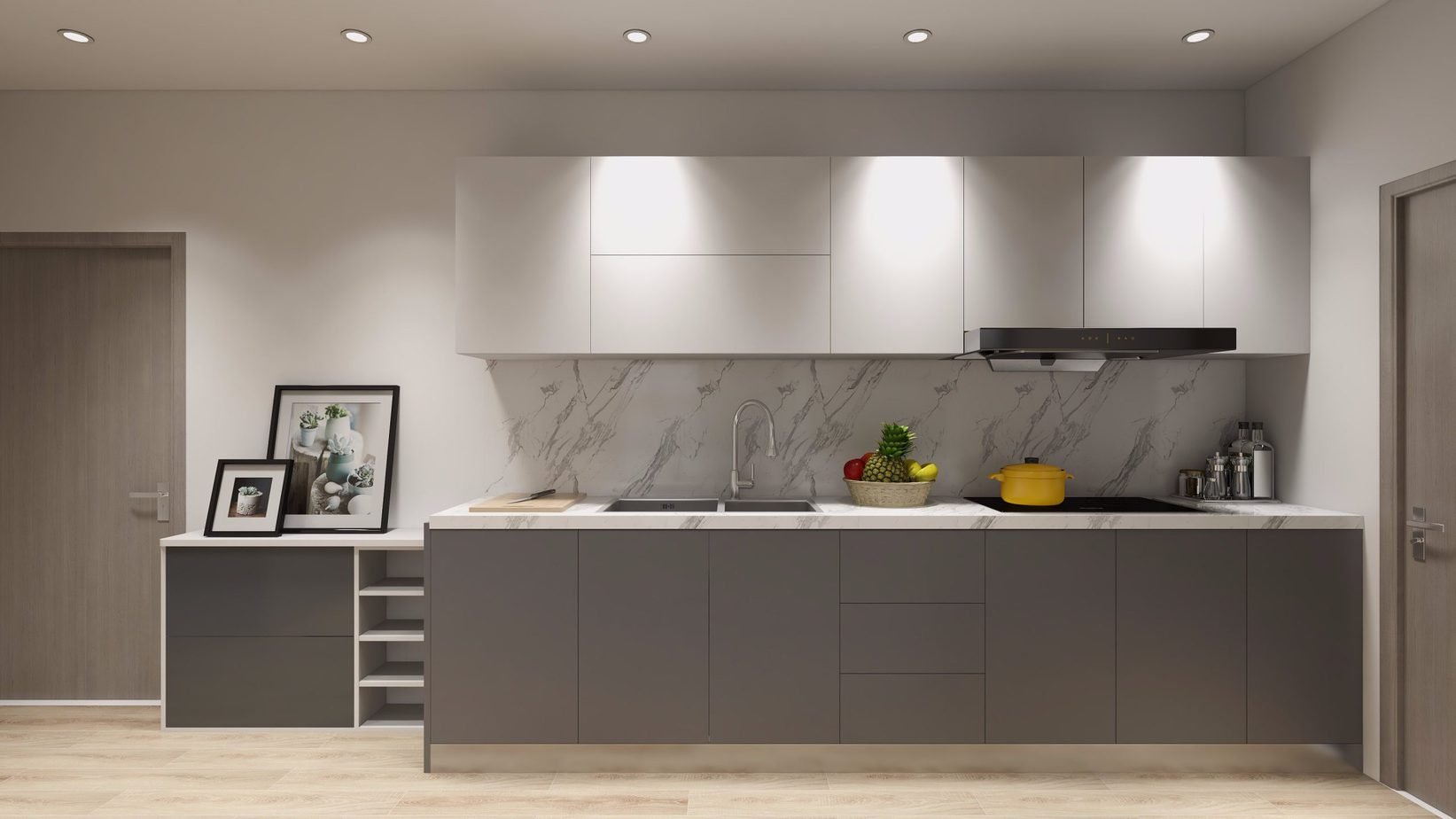 Với khả năng chống nước, va đập, mối mọt tuyệt vời, tủ bếp chữ I màu trắng - xám thanh lịch giúp người dùng có thể an tâm sử dụng hơn