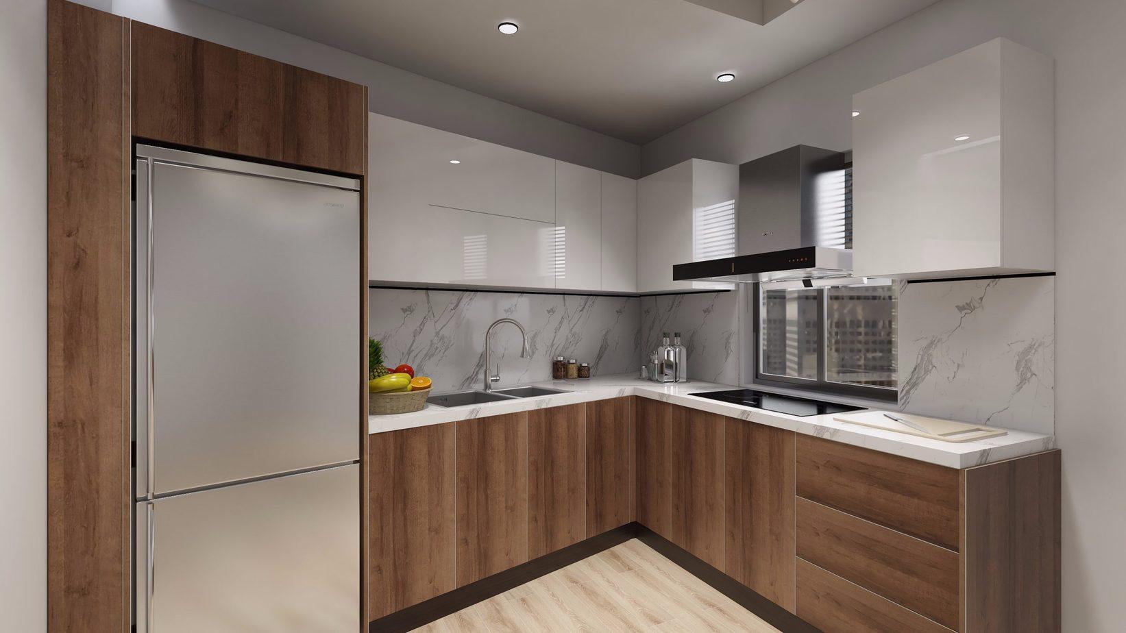 Tủ bếp chữ L lõi MDF chống ẩm phủ Acrylic sáng bóng vừa giúp tận dụng không gian góc vừa mang lại cảm giác tươi sáng cho góc bếp 8m2 này. Phần tủ dưới được làm từ MDF phủ Melamine để giảm chi phí mà vẫn đảm bảo độ bền.