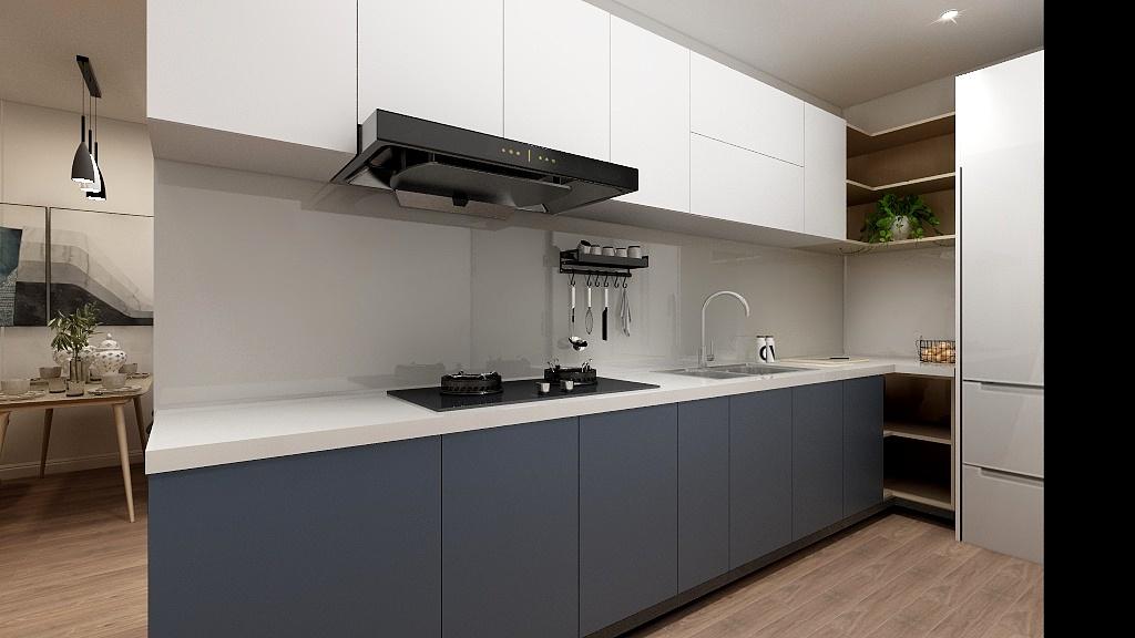 Mang đến chút mới mẻ cho tủ bếp chữ L màu trắng - ghi với hộc tủ không cánh bày cây cảnh trang trí